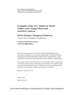 Cover of Evaluation of the ACC vehicles in mixed traffic: lane change effects and sensitivity analysis