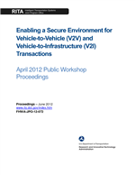 Cover of Enabling a Secure Environment for Vehicle-to-Vehicle (V2V) and Vehicle-to-Infrastructure (V2I) Transactions: April 2012 Public Workshop Proceedings