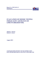 Cover of Evaluation of Seismic Testing for Quality Assurance of Lime-Stabilized Soil
