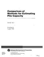 Cover of COMPARISON OF METHODS FOR ESTIMATING PILE CAPACITY. FINAL REPORT