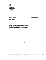 Cover of MARIJUANA AND ACTUAL DRIVING PERFORMANCE