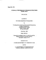 Cover of HYDRAULIC PERFORMANCE OF DRAINAGE STRUCTURES, PHASE I AND II