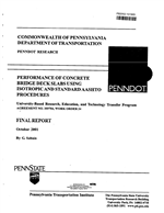 Cover of PERFORMANCE OF CONCRETE BRIDGE DECK SLABS USING ISOTROPIC AND STANDARD AASHTO PROCEDURES