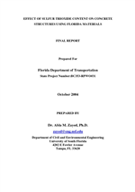 Cover of EFFECT OF SULFUR TRIOXIDE CONTENT ON CONCRETE STRUCTURES USING FLORIDA MATERIALS